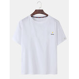 Daisy Embroidery Cotton Breathable Short Sleeve T-Shirts
