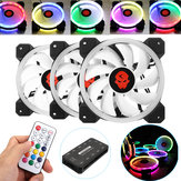 Coolmoon 3PCS 120mm Verstelbare RGB LED-licht Computerbehuizing PC Koelventilator met afstandsbediening