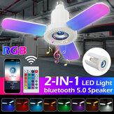 E27 3 ostrza RGB głośnik bluetooth LED garażowa lampa składana lampa muzyczna + 24-klawiszowy pilot zdalnego sterowania 85-265 V