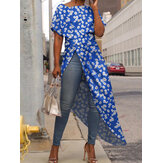 Bohemian Daisy Print Split Irregular Hem Long Shirts Casual Maxi Blouse