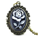 DEFFRUN Fashion Flower Rose Bronze Quartz Pocket Watch Retro Naszyjnik