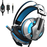 EKSA E800 Wired Gaming Headphone Over Ear Gaming Headset Blue Yellow Soft Earpads Headphones With Rotate Mic LED Light For PC Gamers
