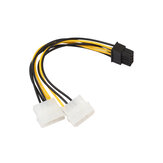 REXLIS 8pin (6 + 2) to Dual 4Pin Power Cable Power Adapter Cable 18cm Graphics Card Power Supply Cable