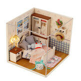 Handmade DIY Dollhouse With Tool Set 3D Scale Miniature LED Lights Kids Room For Children Gift Home Decoration