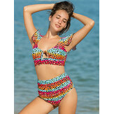 Women Colorful Stripe Leopard Print Ruffles High Waist Bikini Backless Swimwear
