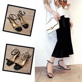 Season New Style With Thick With Wild Sandals Female Word With Open Toe Hollow Ladies High Heel Women's Shoes