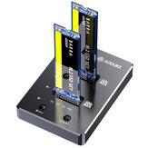 AODUKE WGM2SC2 Type-C To M.2 SATA Dual Bay Hard Drive Docking Station NGFF SSD Offline Clone Support OTG