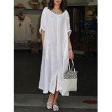 Mujer vendimia Cuello redondo con dobladillo dividido en patchwork de encaje Cuello Manga corta Vestido