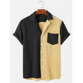 Heren losse corduroy button-down patchwork zak ademende casual shirts