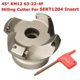 Drillpro KM12 63-22-4F Cortadora de fresado de cara de 45 grados 4 flautas Torno herramienta Para SEKT1204 Insertar