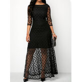 Elegant Lace Polka Dot Print Crew Neck See Through 3/4 Sleeve Long Maxi Dress