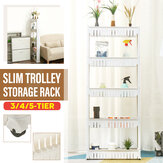 3/4 / 5-Tier Slim Slide Trolley Storage Holder Rack Organizer Kitchen Bathroom