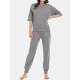 Frauen Solid Color Comfy Casual 3/4 Ärmel Top & Long Panty Pyjama Sets