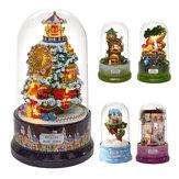 Güzel Kabinler DIY Doll Ev Minyatür Dönen Müzik Kit Şeffaf Kapaklı Müzikal Çekirdek Hediye (Köşede Buluşmak / Karlı Harikalar Diyarı / Bahçe Günlüğü / Sky Rüyası / Orman Kaprisinin)