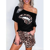 Casual Off Shoulder SLips Print T-shirts Leopard Print Shorts Two Pieces Sets