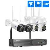 Hiseeu Wireless 8CH 4PCS 3MP Zwei-Wege-Audiosicherheit PTZ 5X Digitalzoom Außen- und Kugel WIFI IP-Kameras Wasserdicht CCTV Satz