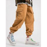Herren 100% Baumwolle Utility Kordelzug Relaxed Fit Cuffed Cargo Pants