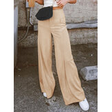 Women Solid Color High Waist Wild Casual Loose Wide Leg Pants