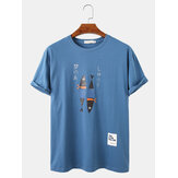 Heren Cartoon Fish & Character Print Losse casual lichte O-hals T-shirts