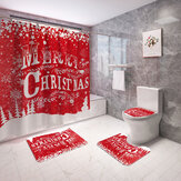 Merry Christmas Waterproof Bathroom Shower Curtain Mould Proof Toilet Cover Mat Non Slip Rug Set Home Decor