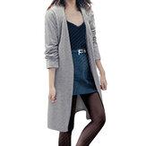 Женские однотонные свободные повседневные кардиганы с длинным рукавом и пиджаки