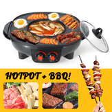 220v Électrique Barbecue Hotpot Four Grill Grill Sans Fumée Hot Pot Machine Fry BBQ Four