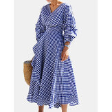 Plaid Belted V-neck 3/4 Sleeve Causal Irregular Hem Dress