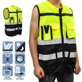 Safety Vest Reflective Driving Jacket Night Security Waistcoat + Pockets