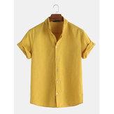 Camisas a rayas de manga corta flojas ocasionales de verano para hombre