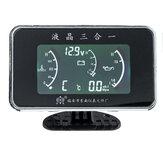 12V 24V 3-en-1 LCD jauge d'alarme numérique de voiture voltmètre pression d'huile température de l'eau de carburant température