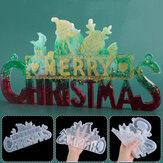 2020 Christmas Decor DIY Crystal Epoxy Resin Mold Christmas Santa Letters Listing Decoration Silicone Mold for Christmas Resin