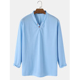 Mens Solid Color Button Casual Long Sleeve Henley Shirts