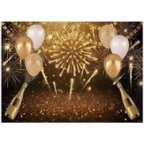 Feliz Aniversário Fotografia Fundo Preto Balões Dourados Fundo Bokeh