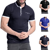 Men's Shirt Short Sleeve Collar T Shirts Cotton Tee Button Casual Slim Fit Tops