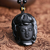 Natural Black Obsidian Kwan-yin Wisiorek Charm Naszyjnik Lucky Jewelry Collocation Clothing
