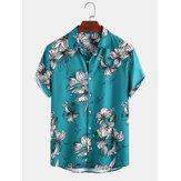 メンズファニーフローラルプリント通気性ルーズフィットカジュアル半袖シャツ