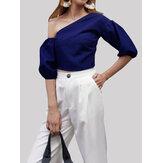Женская нерегулярная рукава с открытыми плечами Тонкий Короткая блузка