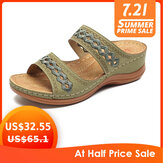 LOSTISY Handmade Stitching Hollow Casual Comfy Sandals