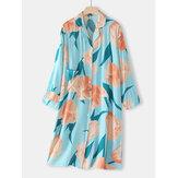 Frauen Blumendruck Revers Langarm Button Casual Home Nachtwäsche Nachthemd Mit Tasche