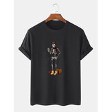 100% Cotton Mens Funny Pumpkin Skeleton Print Halloween Short Sleeve T-Shirts