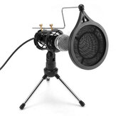 Live Microphone Condenser Microphone Wired Singing Recording Broadcasting Podcast MIC with Tripod Stand for PC Laptop Phone