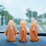 16,5 cm Buddha in resina Statua Monk Scultura Car Home Garden Decor Ornamento Marrone