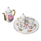 8pcs New Porcelain Tea Set Teapot Vintage Style Coffee Teacup Retro Floral Cups