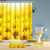 Cortina de chuveiro de banheiro Sunflowers Print Conjunto de cortina de banho impermeável durável Conjunto de capa de banheiro tapete antiderrapante