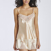 Sexy Luxurious Lace Bow Silk Pajamas Cleavage See-through Sleepwear Sets