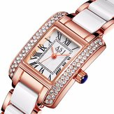 Elegant Ceramic Strap Crystal Case Women Quartz Watch