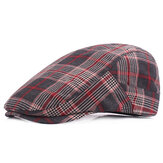 Men Plaid Cotton ajustável Sport Beret Caps