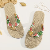 Womens Clip Toe Floral Massage Soles Beach Flats Sandals