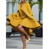 Women Lapel Solid Casual Stylish Loose Fit Daily Dress with Side Pockets