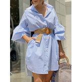 Kadın İnce Çizgili Kontrast Yaka Günlük Dikiş Kol Gömlek Elbiseler